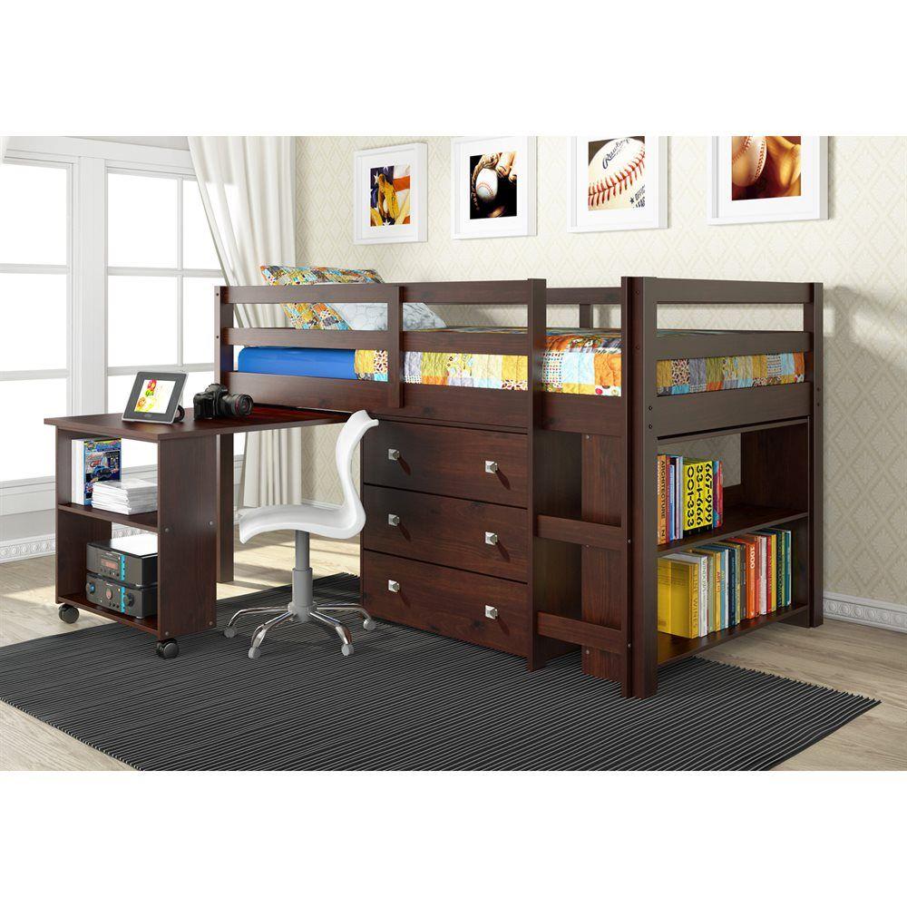 Kids low loft bed  Shop Pivot Direct PD Donco Kids Study Low Loft Bed with Desk