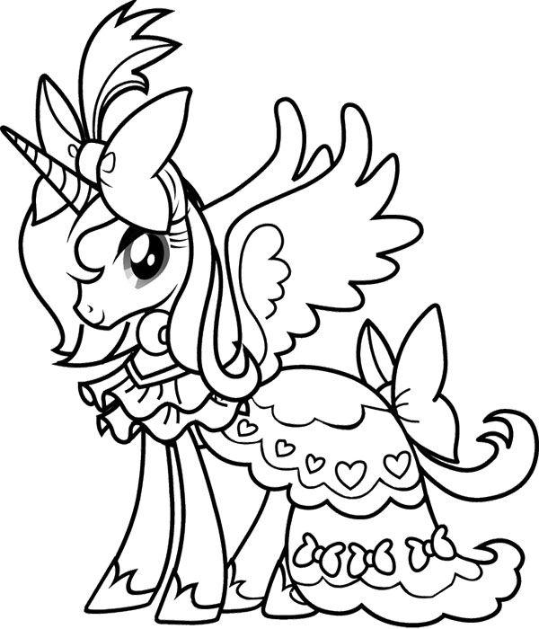 Princess Rarity My Little Pony Coloring Page Utskrivbara Farglaggningssidor Malarbocker Malarbok