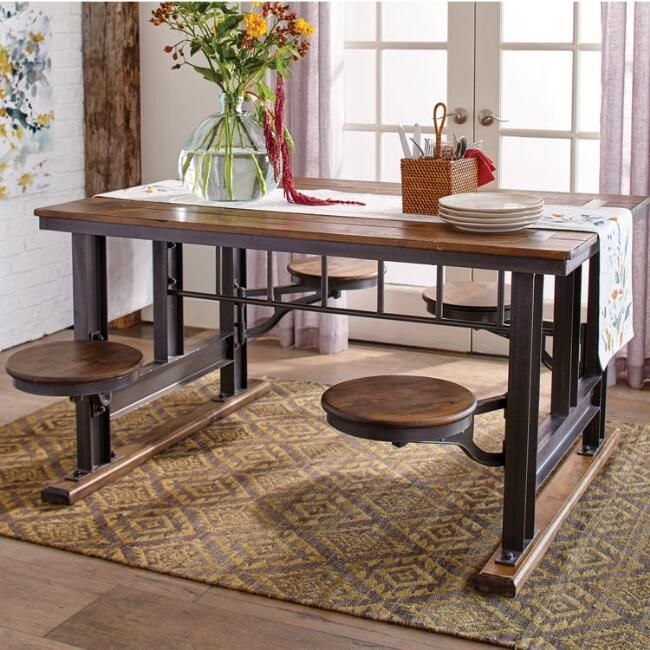 Wood And Metal Cafeteria Style Table Cafeteria Table Dining