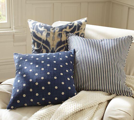 Porcelain Blue Decorative Pillows : Thomas Ticking Stripe Pillow Cover Pottery Barn no polkadot one...for main floor Dream Home ...