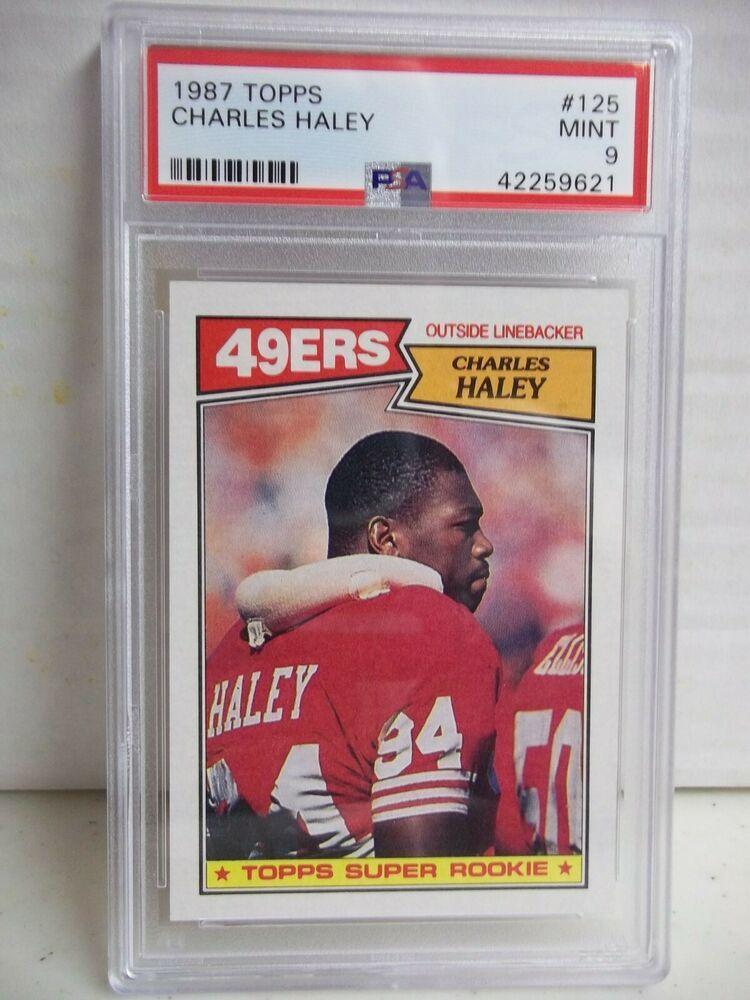 1987 topps charles haley rookie psa mint 9 football card
