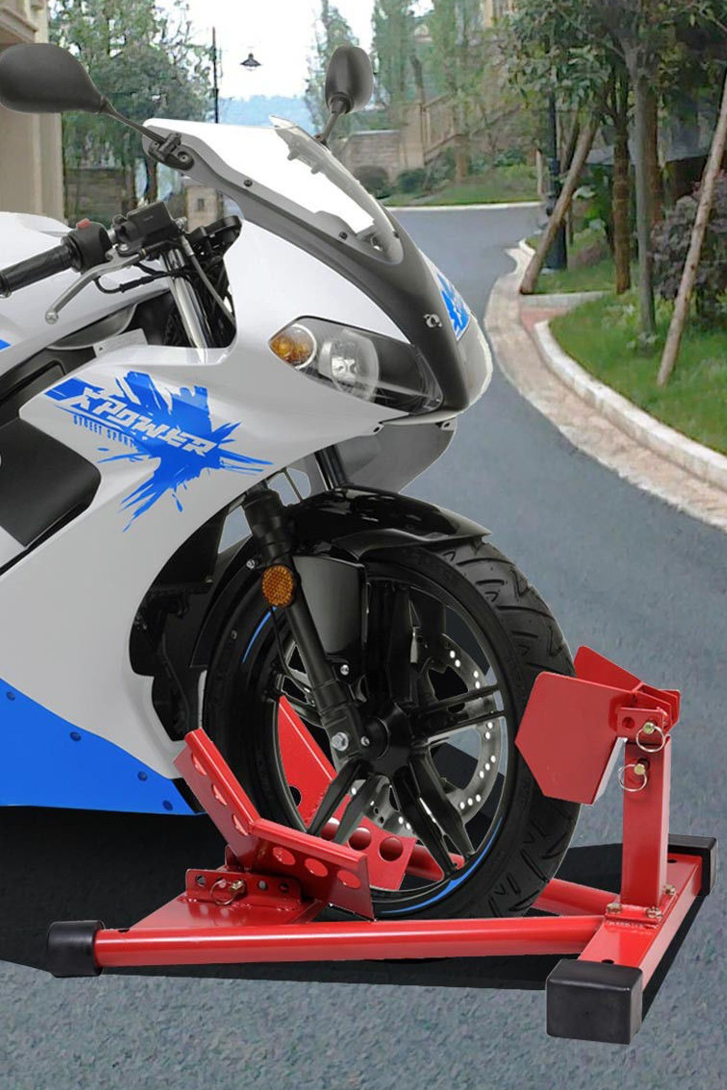 This Is Our Motorcycle Wheel Chock Stand Which Is Designed For Securing Motorcycles Upright For Transporting, Maintenance, And Storage.