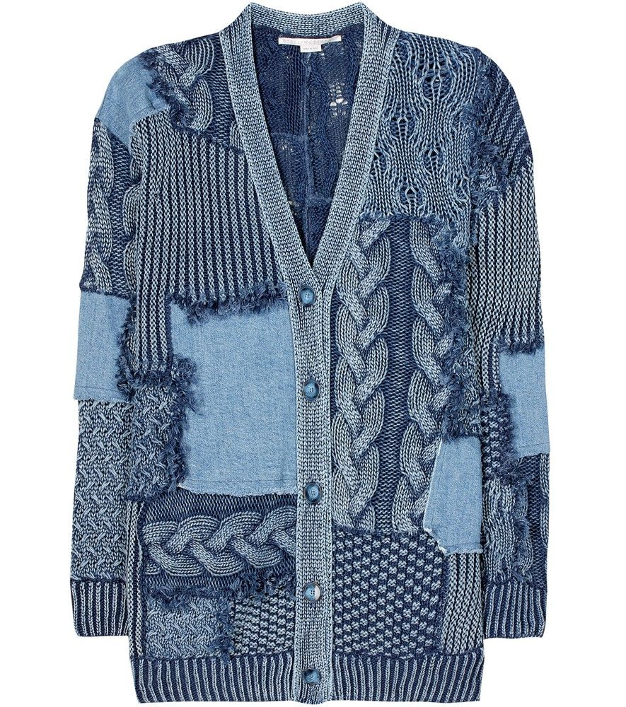 Stella McCartney - Knitted and denim cotton cardigan - Stella McCartney's endlessly chic aesthetic has been refreshed with a cool, status-defining cardigan. A reconstructed design of an intricately knitted base and denim patches hangs in a relaxed cut for cosy, comfortable wear. The knitted sections have been surface dyed for a distressed-and-loved effect, while gemstone-inspired buttons finish the look off on a precious note. seen @ www.mytheresa.com