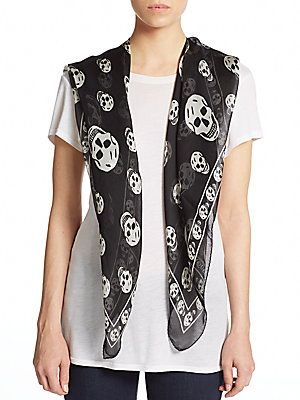 Skull-Print Silk Scarf - SaksOff5th