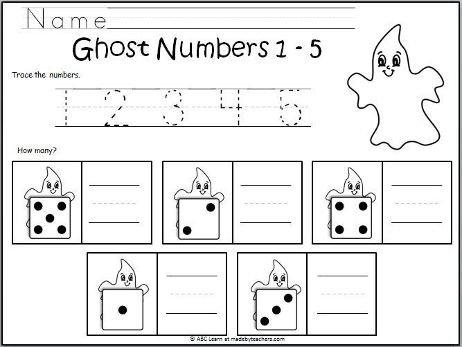 Number Writing Ghosts 1-5