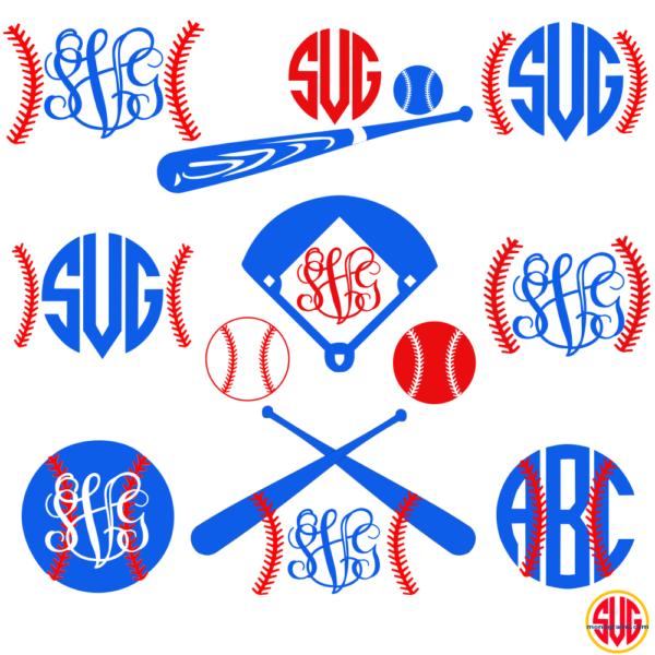 Baseball Frames for Monograms SVG, DXF, EPS   Monogram ...