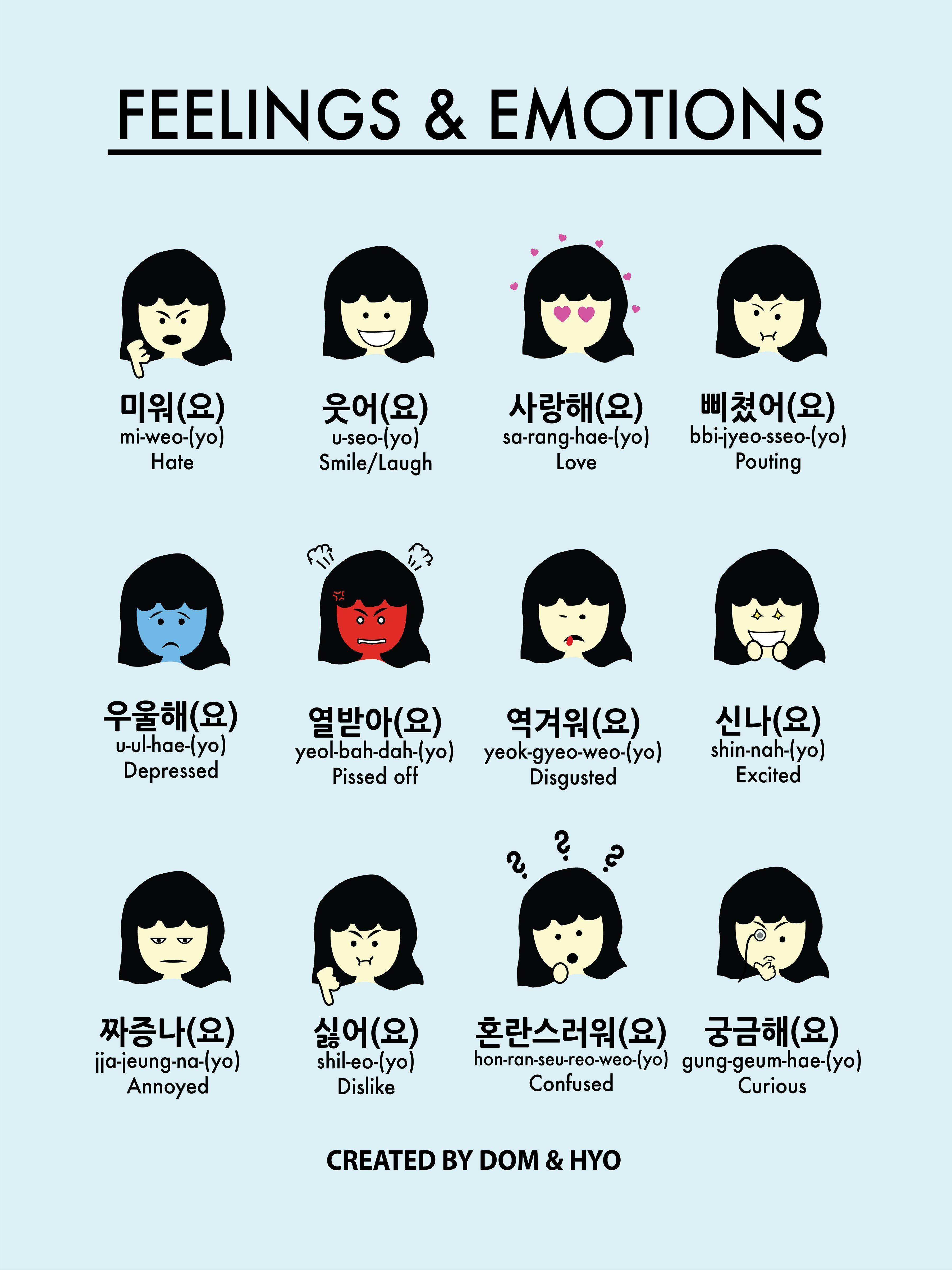 Feelings & Emotions in Korean Part 20 Poster   Korean words, Korean ...