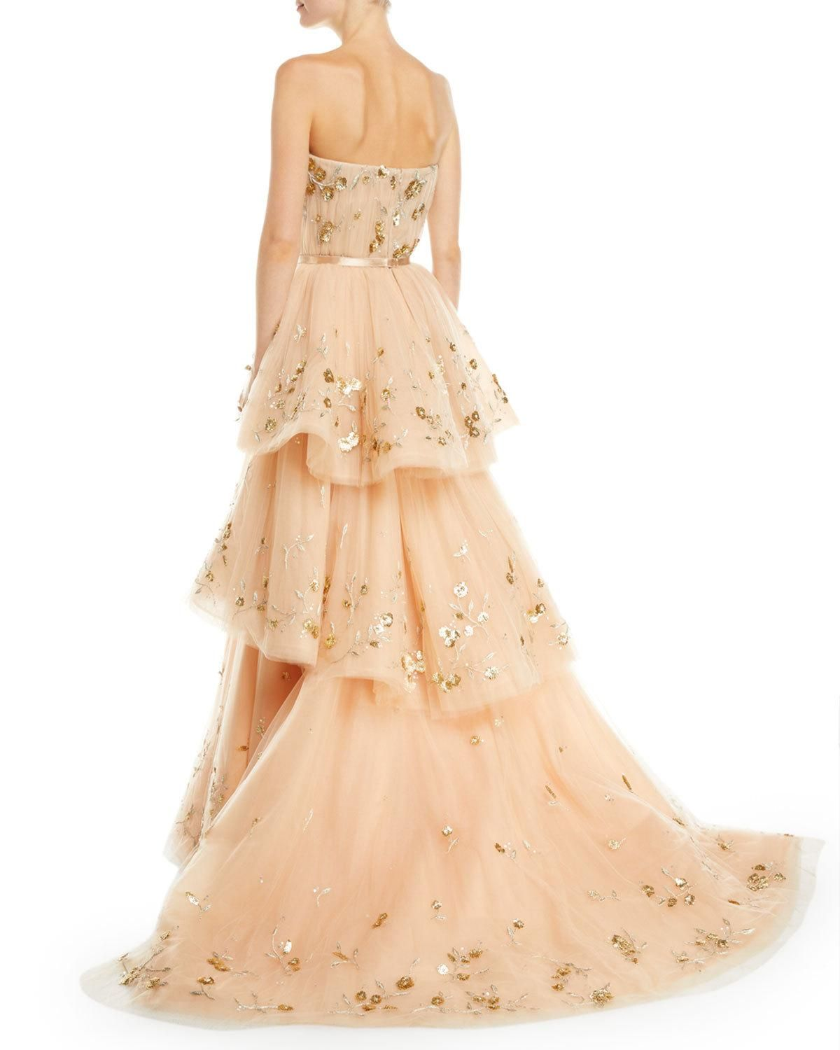 Carolina Herrera Strapless Floral Embroidered Three Tiered Tulle Ballgown Ball Gowns Long Tiered Dress Tiered Dress Formal [ 1500 x 1200 Pixel ]