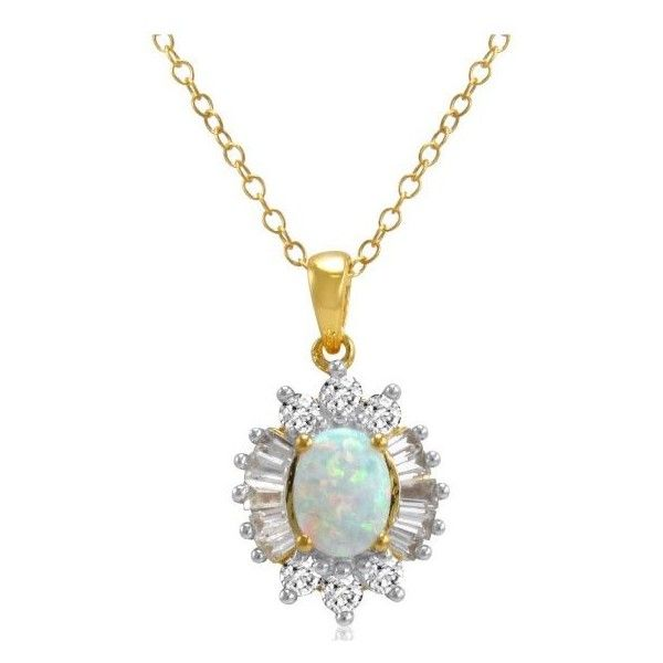 Amanda Rose Collection Yellow Gold Plated Sterling Silver Created Opal... ($50) ❤ liked on Polyvore featuring jewelry, pendants, opal jewelry, yellow gold pendant, 18k gold pendant, gold chain pendant and 14 karat gold pendants