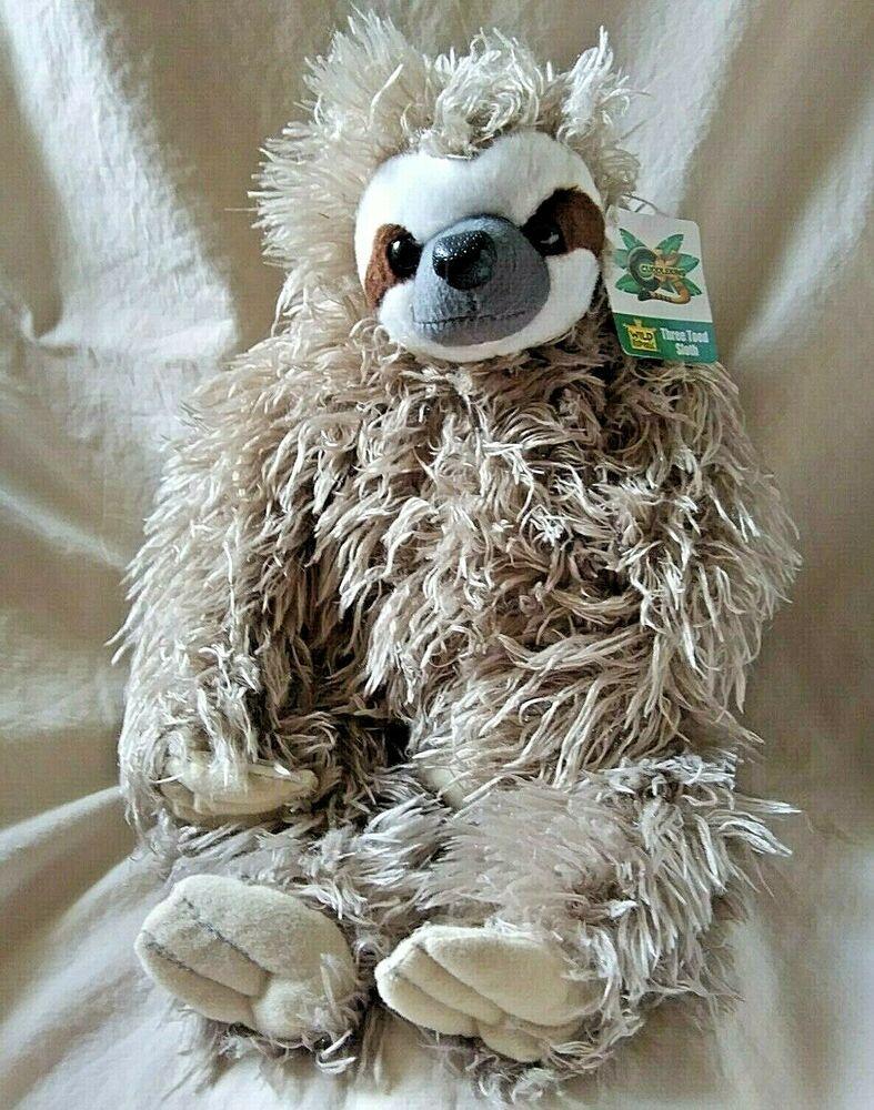 Wild Republic Three Toed Sloth Plush Animal with Tag 12