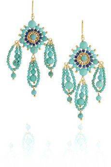 Chan Luu 14-karat gold-vermeil, turquoise and lapis earrings