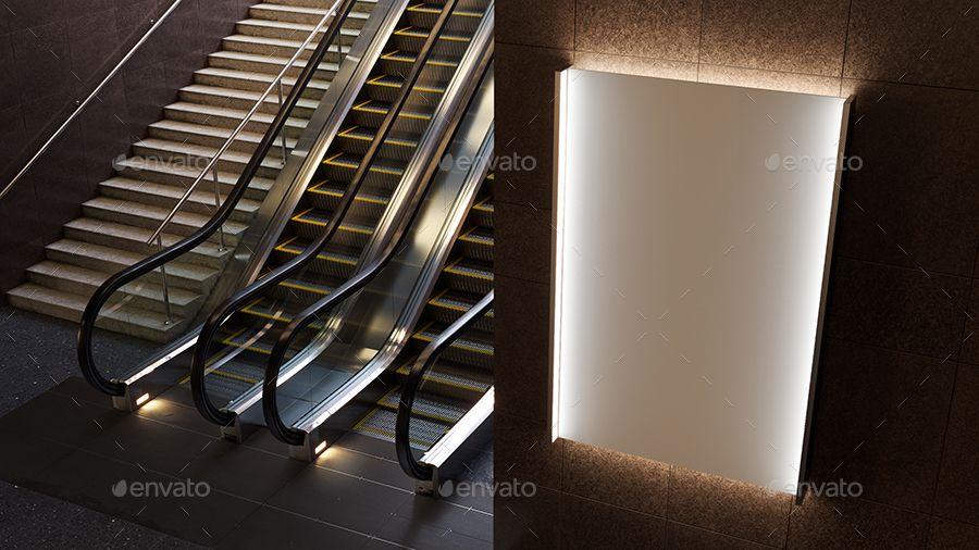 3d Animated Escalator Lightbox Mockup Escalator Interior