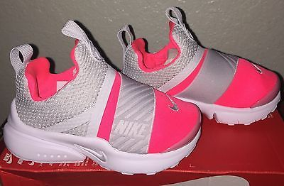 Little Girls Nike Presto Extreme Shoes Toddler size 10 C Pink / Gray /  White NIB