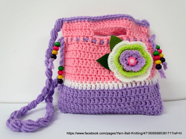 Crochet Purse girl. Crochet Clutch. Children\'s Crochet Purse.Crochet ...