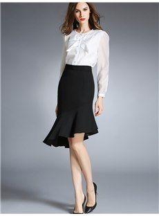 OL斜めフリル黒スカート
