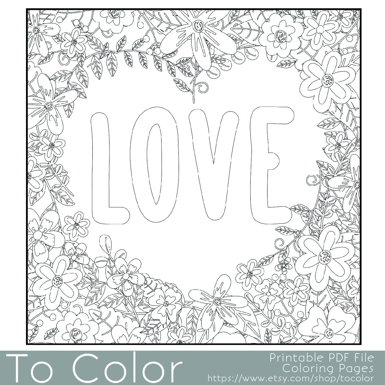 flower frame with the word love coloring page this is a