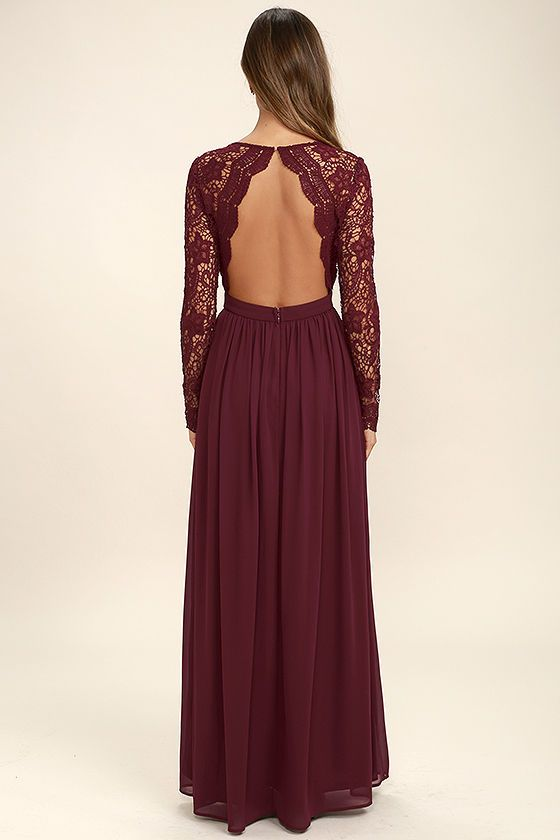 e9362cca8c0 Open your eyes to a world of beautiful possibilities in the Awaken My Love  Burgundy Long Sleeve Lace Maxi Dress! Crocheted lace elegantly graces the  fitted ...