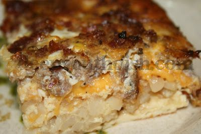 A yummy breakfast casserole that can be put together at the last minute - hash browns, sausage or ham, onion, bacon, milk, eggs, salt and ...
