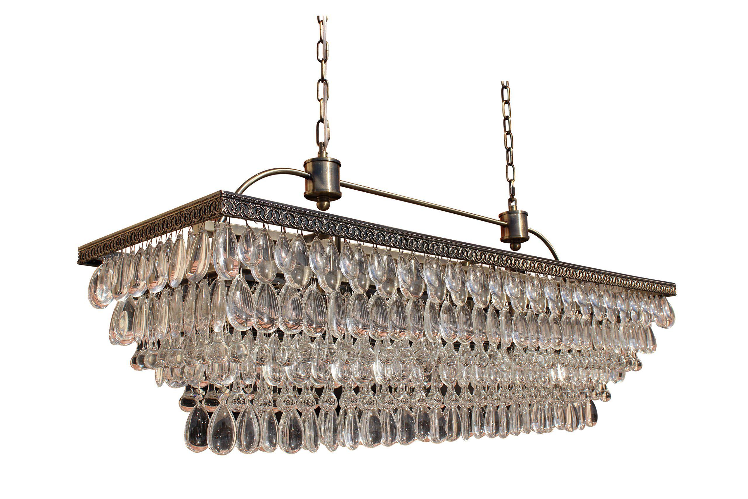 The Weston 40 Inch Rectangular Glass Drop Crystal Chandelier