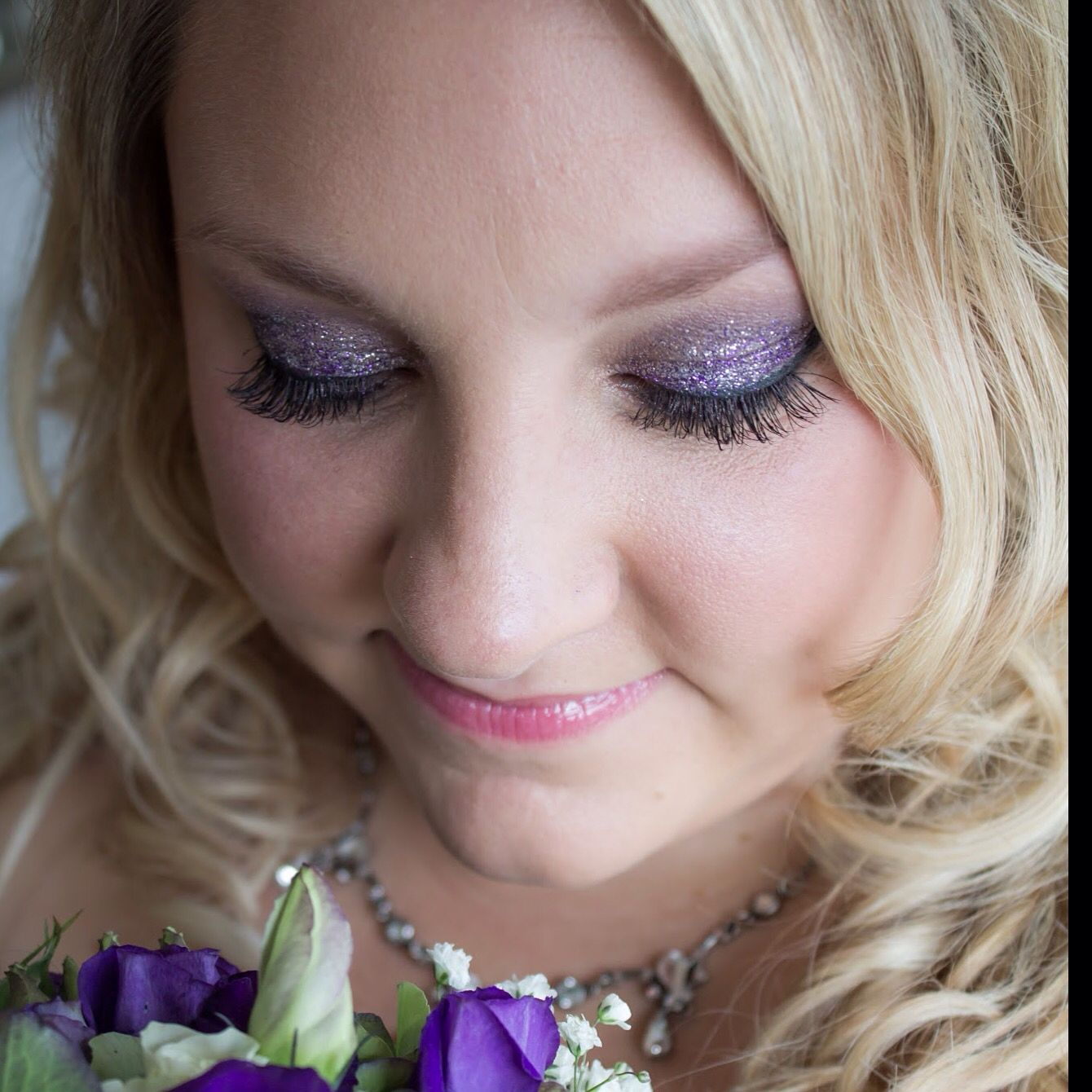 purple smokey glittery eye make-up. #bridalmakup hair & make-up by
