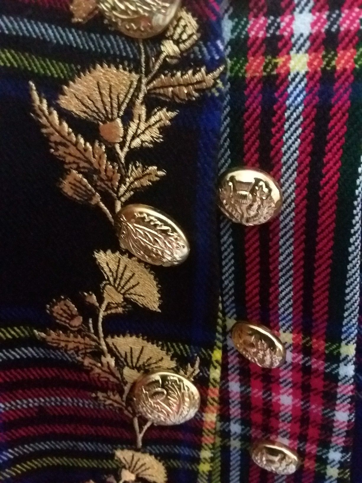 Gold tilla thistle embroidery on my frock coat 1745 style.   comejoinourcampaign jacobitetours.co.uk a0635a843