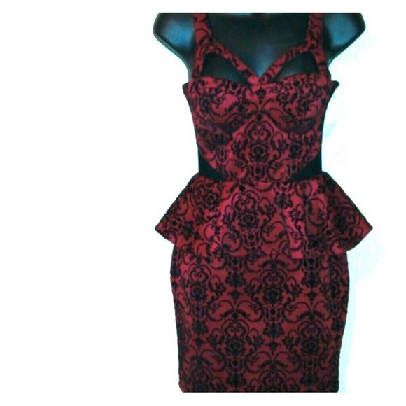 SEXY Pin Up, peplum above the knee dress Dark red super sexy,fitting. Peplum style dress with back zipper! Not stretch material, good quality! Dresses