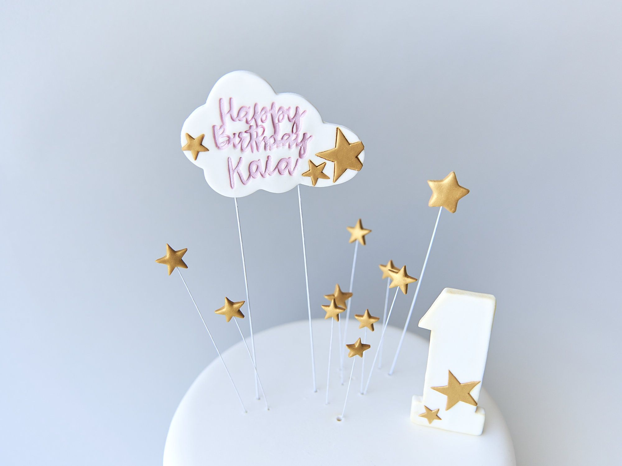 Remarkable Fondant Cloud With Happy Birthday Name Letters Golden Stars Funny Birthday Cards Online Inifofree Goldxyz