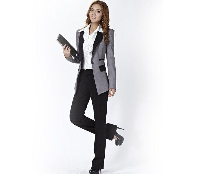 Grey And Black Color Block Nice Designer Ladies Suits
