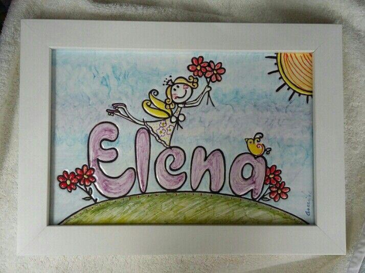 cuadro con nombre para beb nio infantil hecho a mano personalizado - Cuadros Originales Hechos A Mano