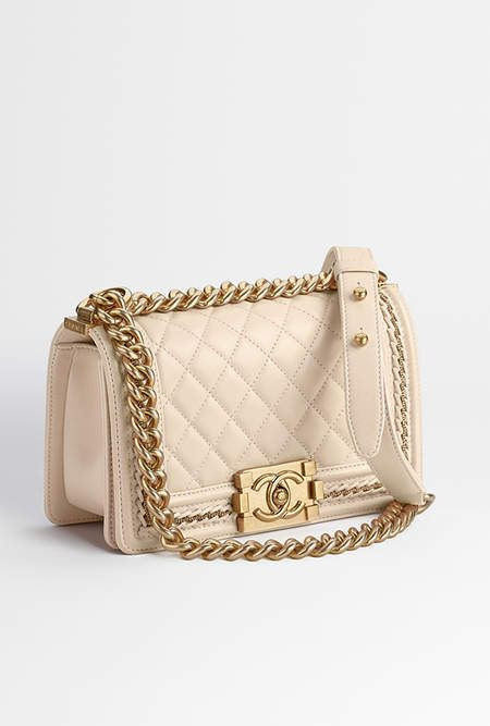 Small BOY CHANEL handbag, lambskin   gold-tone metal-beige - CHANEL ... 25011ce449