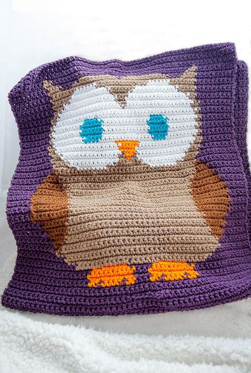 Pattern for Crochet Owl Blanket - Owl Baby Blanket Crochet Pattern ...