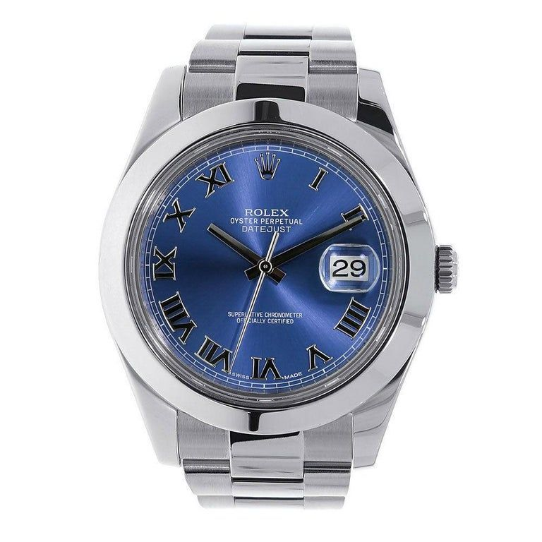 Certified Rolex Datejust II Stainless Steel Blue Roman Dial Watch 116300 #stainlesssteelrolex