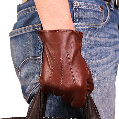 REAL LAMBSKIN SHEEP LEATHER DRIVING FASHION POLICE DRESS GLOVES BLACK RED SEWN
