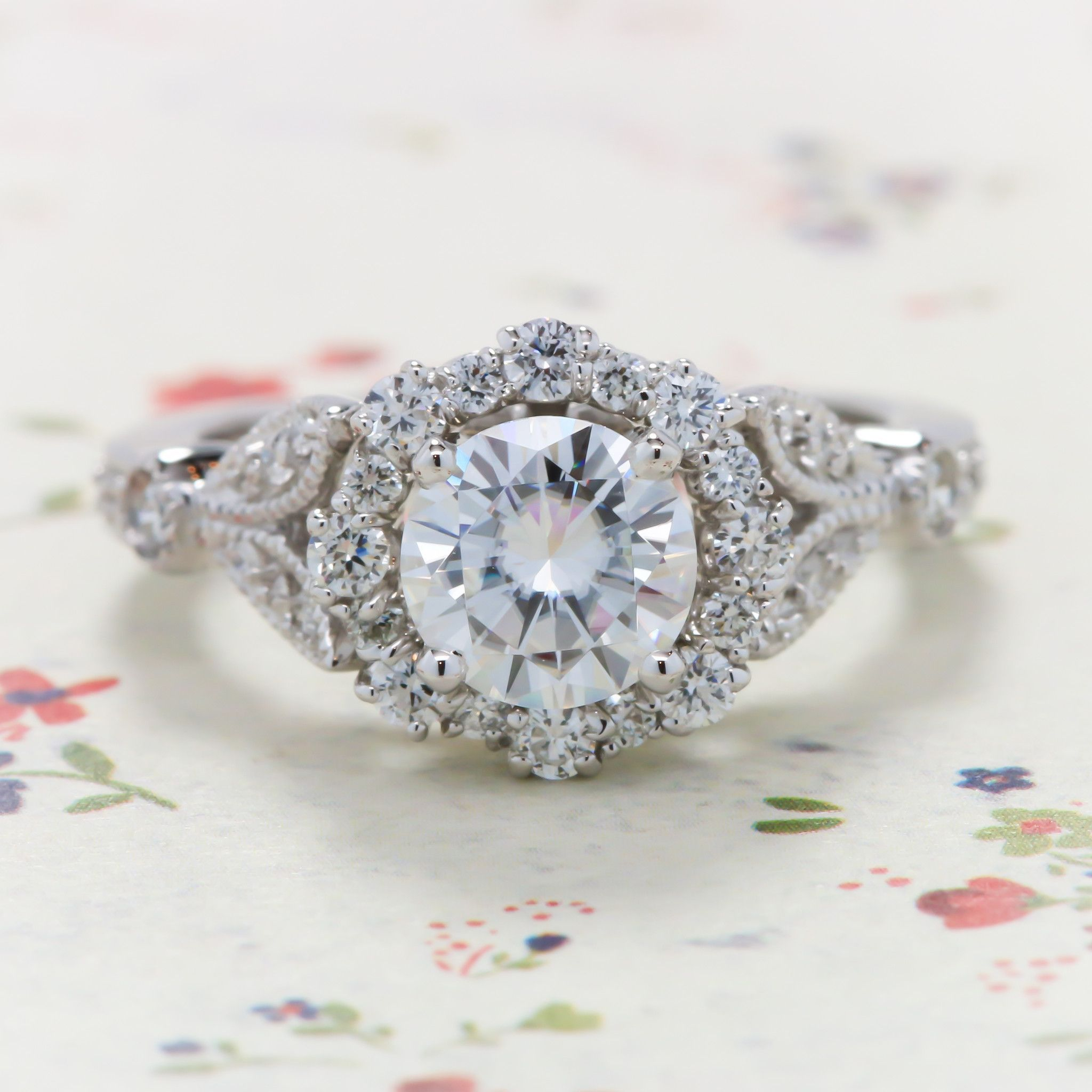 Vintage Floral Style Halo Diamond and Moissanite