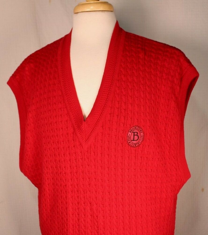 Ebay Sponsored Men S Size Xxl Brookstone Golf Cc Red Peruvian Cotton Sweater Vest Cable Knit Mens Red Sweater Cotton Cable Knit Sweater Cotton Sweater