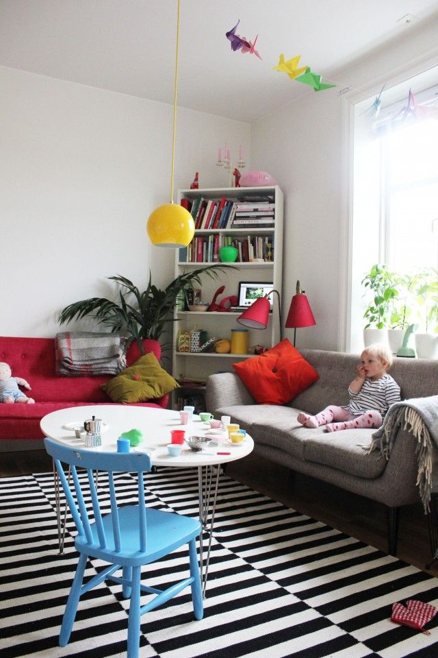 Red Couch With Yellow Accents I Like It Fun And Creative