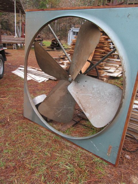 The Gigantic Attic Fan We Salvaged Soon To Be A Shop Fan Shop Fans Antique Fans Attic Fan