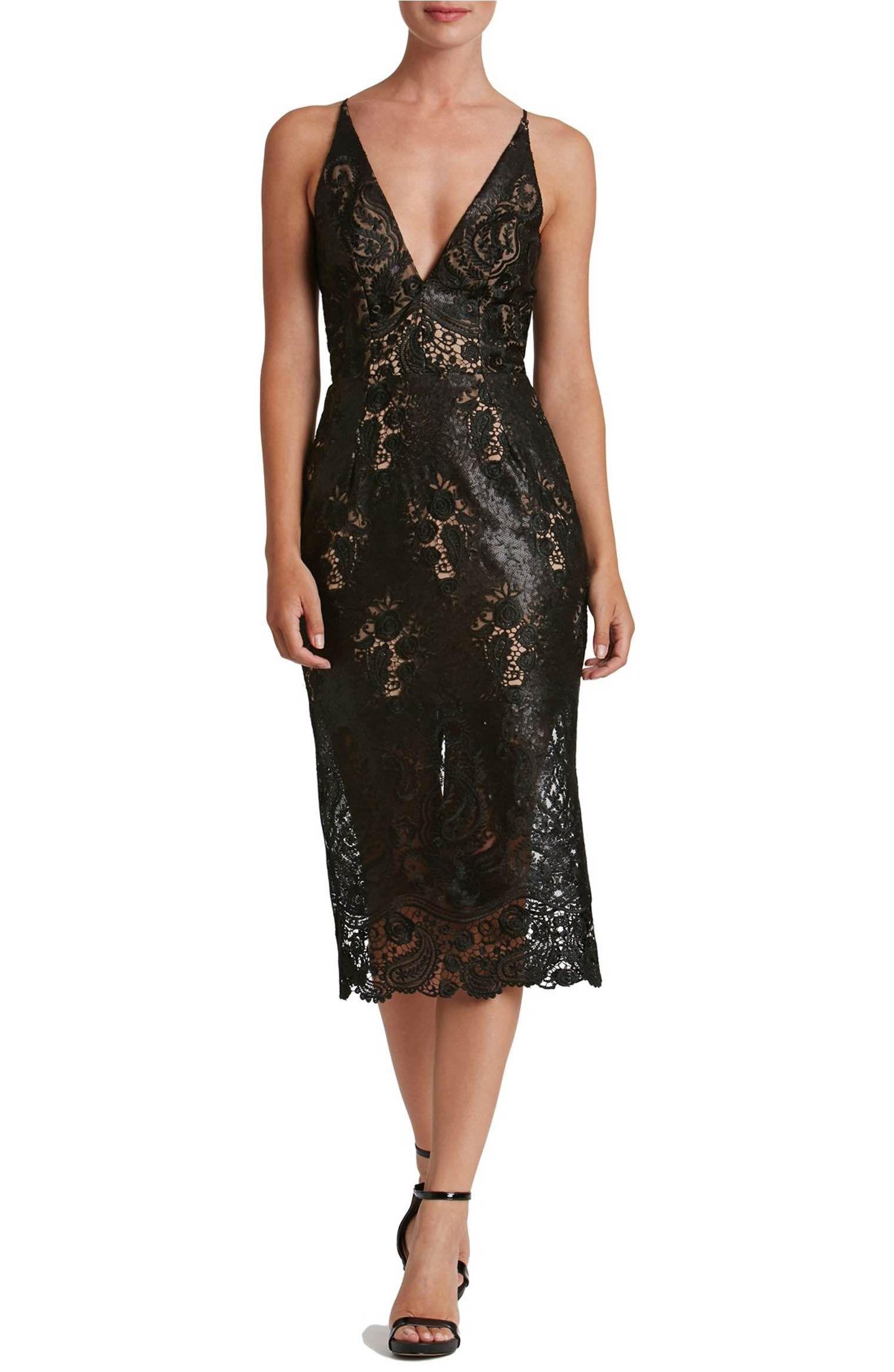 Main image dress the population angela sequin lace midi dress