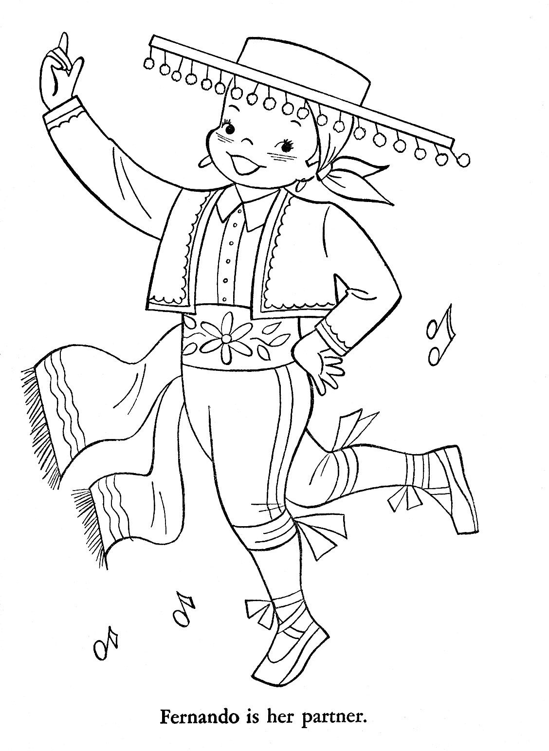 "spanish coloring pages for adults | iColor ""Little Kids Around The World"" ~ Spain 