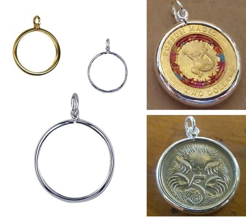 Locket Pendant - COIN FRAME PLAIN - Sterling Silver or 9ct Yellow ...