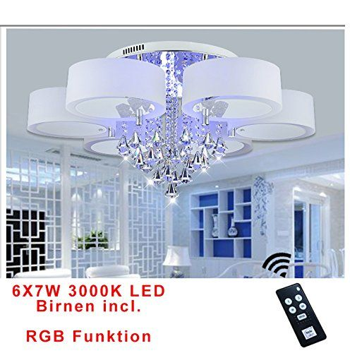 Style HomeR 42W RGB Kristal LED Deckenlampe Deckenleuchte 6103 6 Flammig Warmweiss Mit Fernbedienung Incl