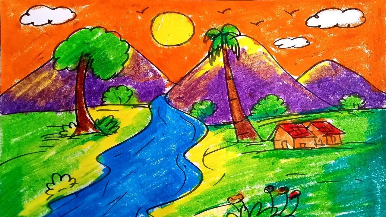 Easy Scenery for Kids | How to draw Sunset Scenery for ...