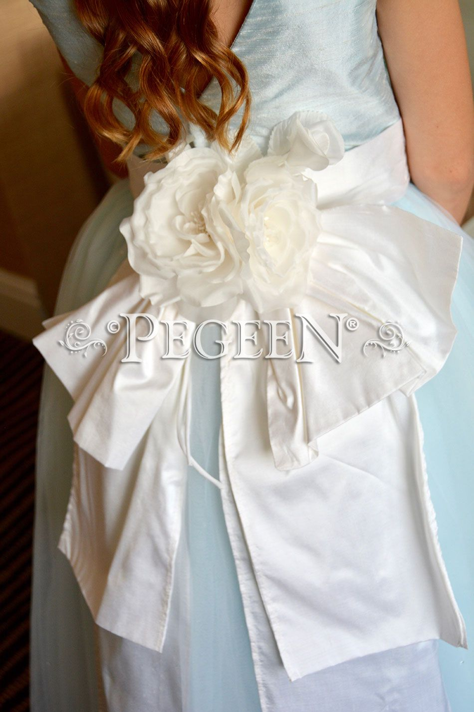 Ice Blue And White Flower Girl Dresses With Layers And Layers Of