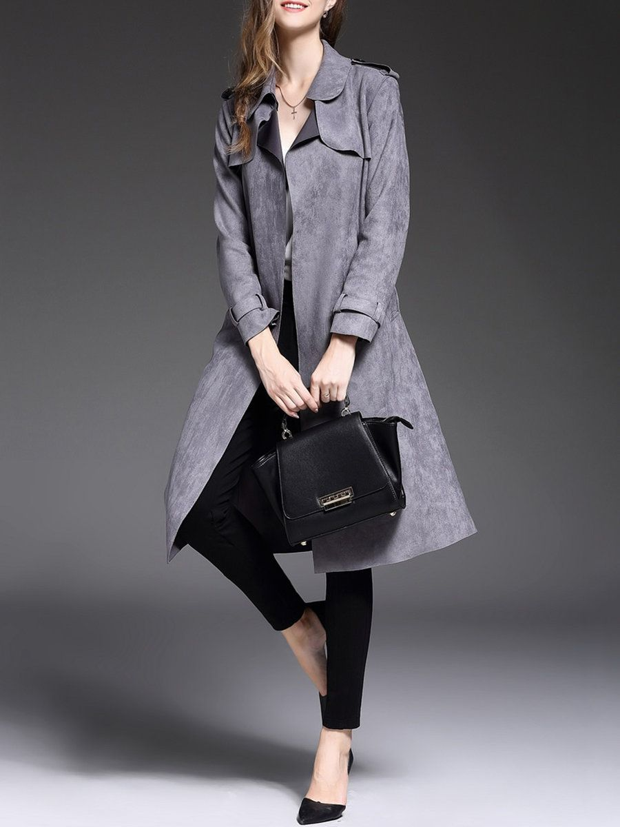 Shop Trench Coats - Gray Paneled Suede Work Trench Coat online. Discover unique designers fashion at StyleWe.com.