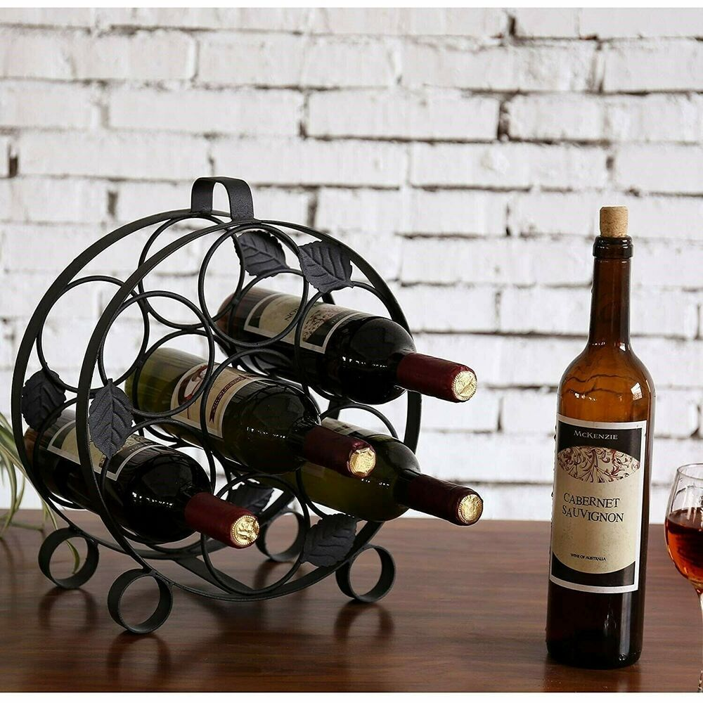 Metal Wine Bottle Rack Holder Storage Black Kitchen Display Table Counter Stand Unbranded Wine Rack Wine Racks For Sale Metal Wine Rack