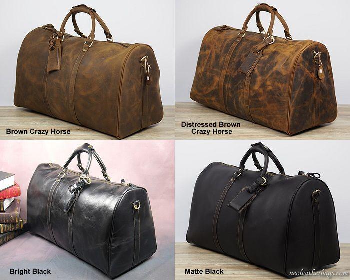 Men s Large Handmade Vintage Leather Travel Bag   Luggage   Duffle Bag    Weekend Bag   9334f464daac9