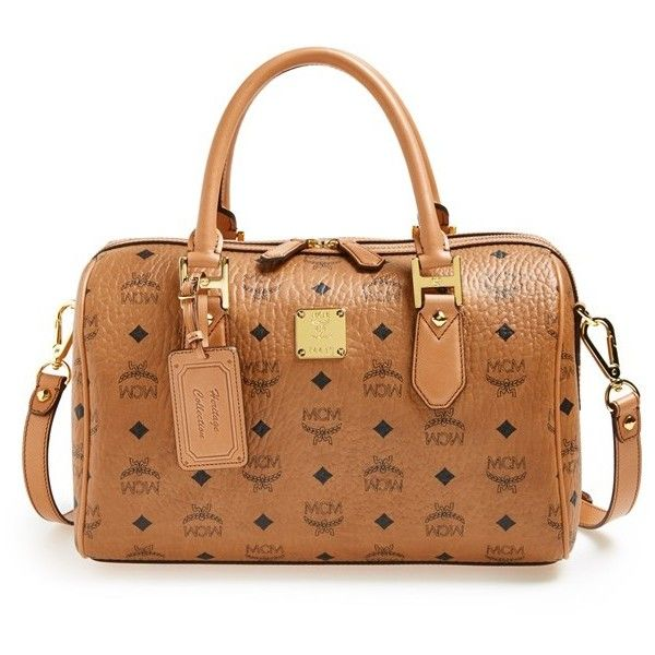 Women s MCM  Heritage Boston  Coated Canvas Satchel ( 870) ❤ liked on  Polyvore featuring bags af7967db8f4ba