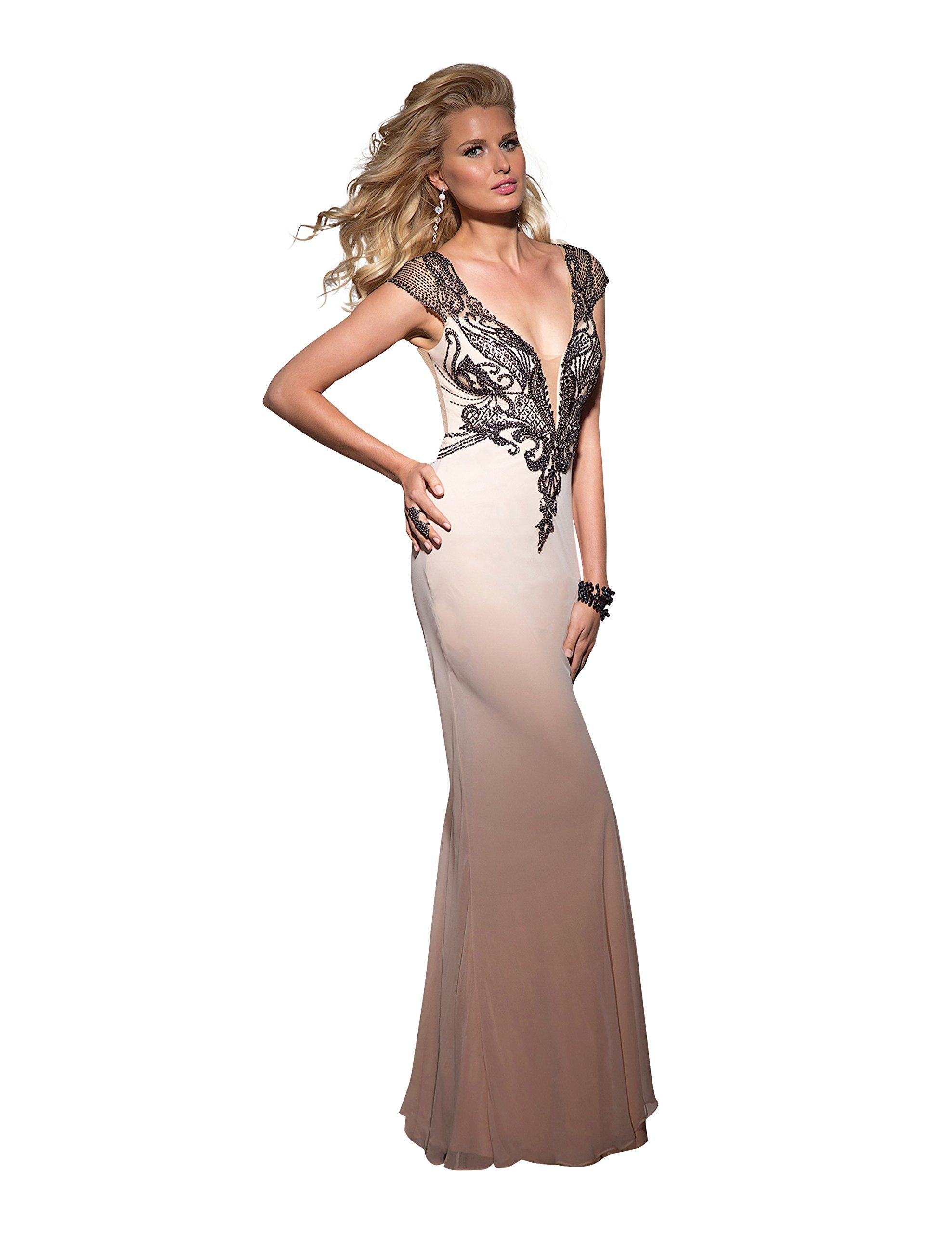 Clarisse vneck evening gown and prom dress size champagne