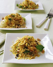 Quinoa-and-Apple Salad with Curry Dressing - Martha Stewart Recipes.... made it without almonds or mint (I was out) but a fabulous recipe. Could eat it every day for weeks (and did lol)