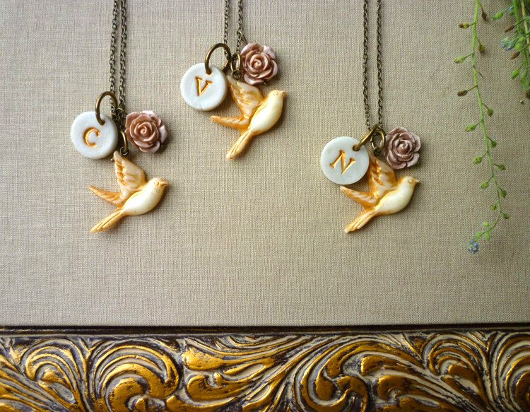 Bird Bridesmaids Necklaces  -  Set of 3. $90.00, via Etsy.
